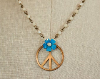 Flower Power Brass Peace Sign Beaded Necklace