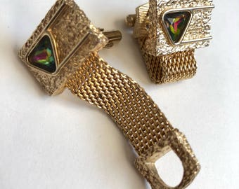 SOLD Vintage Gold Square Cuff Links