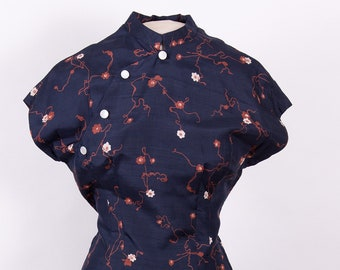 Vintage 50s 60s Chinese inspired Cheongsam style wiggle dress