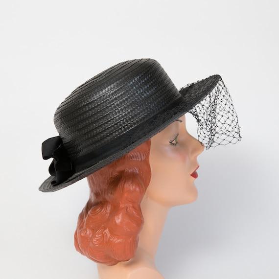 Vintage Black Straw Sun Hat - Black Hat - Black 1… - image 2
