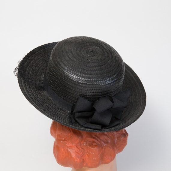Vintage Black Straw Sun Hat - Black Hat - Black 1… - image 5