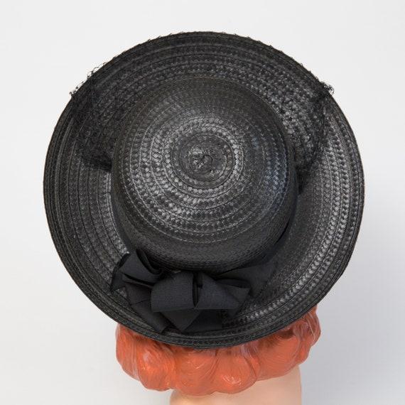 Vintage Black Straw Sun Hat - Black Hat - Black 1… - image 8