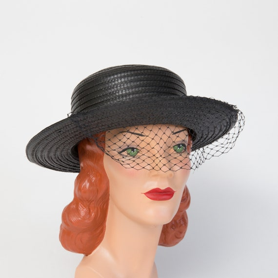 Vintage Black Straw Sun Hat - Black Hat - Black 19
