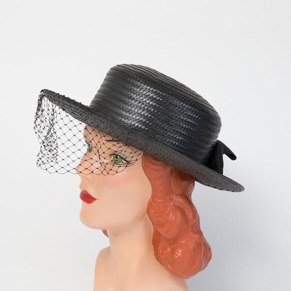 Vintage Black Straw Sun Hat - Black Hat - Black 1… - image 6