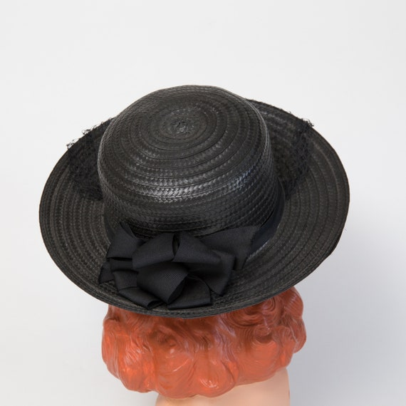 Vintage Black Straw Sun Hat - Black Hat - Black 1… - image 4
