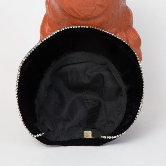 Vinage Velvet Beret with Rhinestone Trim - Black … - image 9