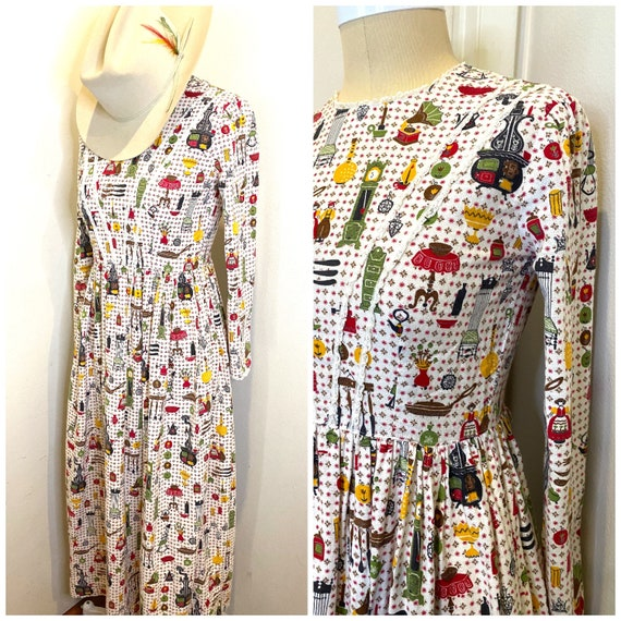 70s Prairie Maxi Novelty Print Mid Century Dress