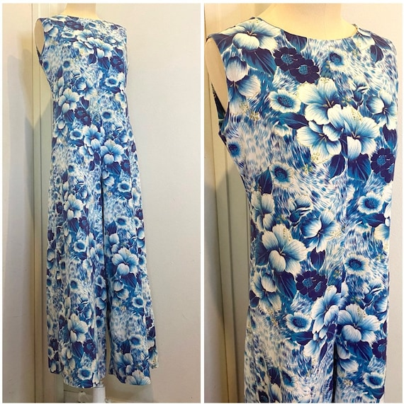 60s Jumpsuit WOW Blue Hawaiian Print Long Romper M