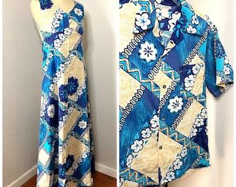 60s Hawaiian Honeymoon Set- Barkcloth Dress for Her, Button Down Shirt for Him, Matching Couples Set