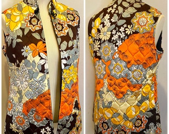60s Quilted Psychedelic Print Vest