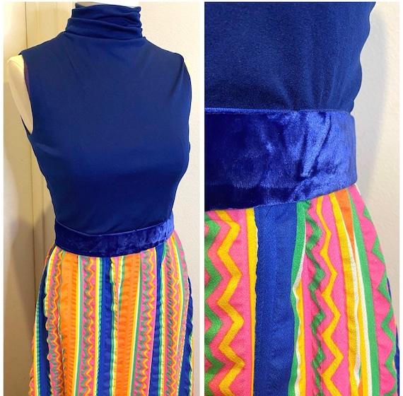60s Mod Maxi Boho Dress XS