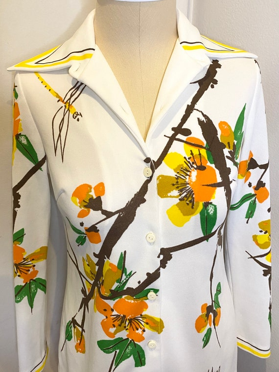 70s VERA Floral Button Up Top - image 3