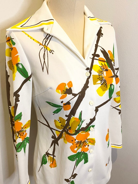 70s VERA Floral Button Up Top - image 6