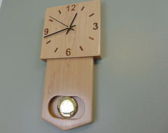 Modern Square Pendulum Clock - Maple Black Walnut by Modclock