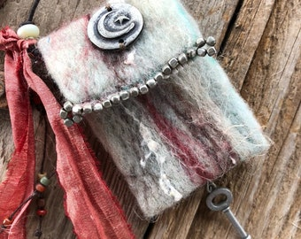Pewter Moon  and  Star #2017 handmade felted Spirit Bag OOAK Necklace by SusanARay