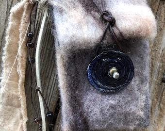 Purple Lampwork Disk #2014 handmade felted Spirit Bag OOAK Necklace by SusanARay