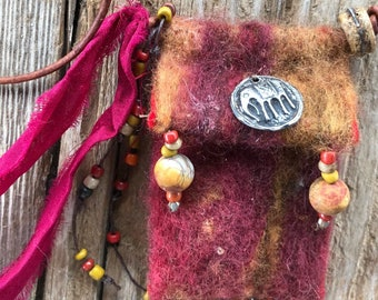 My Elephant #2021 handmade felted Spirit Bag OOAK Necklace by SusanARay