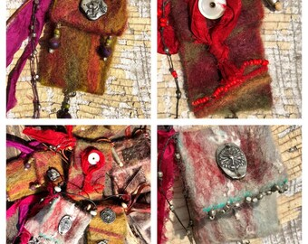 Red Clohe Closure handmade felted Spirit Bag #2013 OOAK Necklace by SusanARay