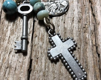 The Cross and Key Talisman OOAK Necklace by SusanARay of OneHealingStone