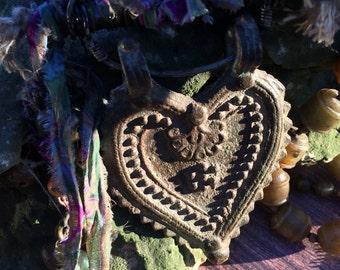 ORISSA (India) heart handmade Tibetan heart  on a OOAK necklace by designer Susan A Ray