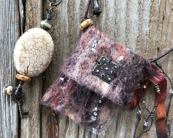 Ashes Square #2011 handmade felted Spirit Bag OOAK Necklace by SusanARay