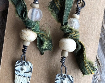Whisper earrings w/ white washed pewter dangles by SusanARay of OneHealingStone #4222
