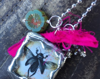 SING/ BEE Double Sided Soldered Charm Necklace by Susan A Ray