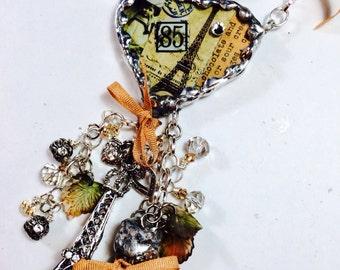 Inspired by Sally Jean Alexander: OOAK Handmade My Heart Belongs to Paris Necklace - Susan Ray, Mixed Media in Silvergleem Lead Free Solder