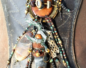 A Healing Heart tribal pendant necklace with Soul Smudge OOAK by SusanARay of OneHealingStone.