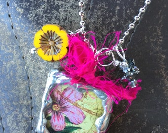 Old ROSE/Old SCRIPT Double Sided Soldered Charm Necklace by Susan A Ray