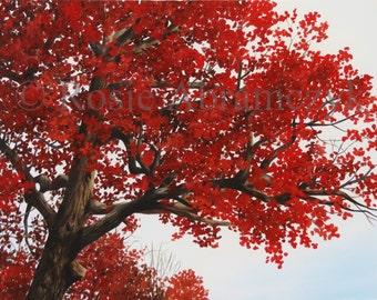 Antique Autumn Oak, Oil Painting, Art Print (by Rosie Abramczyk)