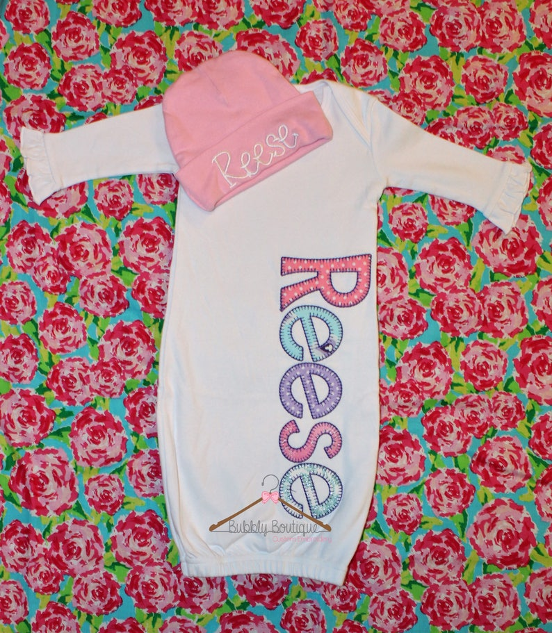 Infant girls /& boys embroidered personalized gown and hat for hospital  coming home  baby shower  newborn  name  bay layette  monogram