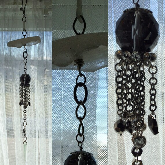 """Sea Glass Bottle Bottom Jellyfish Sun Catcher with Gun Metal Butterfly and Beads, Antique Silver Chain with on a Steel Balloon Hook 1'4"""""""