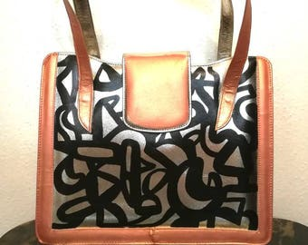 Hand Painted Vintage Silver Leather Hand Bag / Abstract Art Purse