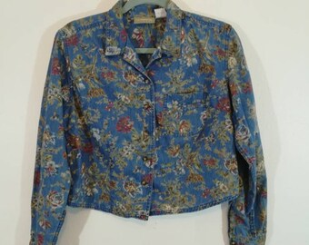 90s Cropped Denim Liz Wear Button Up // Size M