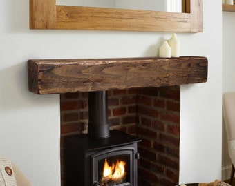 Rustic Floating Fireplace Mantel 5x6, 6x6, 6x8 or 8x8 - Mantle - Floating Mantel - Barn Wood Mantel - Barn Beam - Custom Lengths