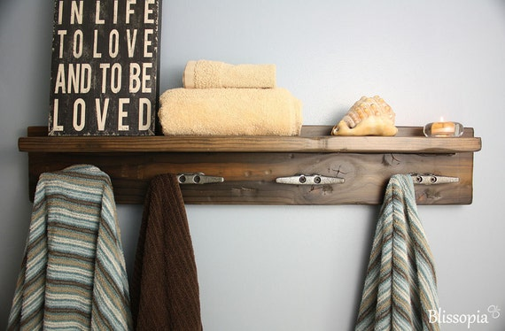 Delicieux Coat Rack With Boat Cleat Hooks Rustic Towel Rack Beach | Etsy