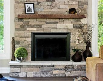 "Rustic Mantel 6""H x 8""D - Fireplace Mantel - Mantle Shelf - Reclaim Wood Mantel - Barn Wood Mantel - Reclaimed Beam - Fireplace Decor"