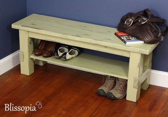 Perfect Painted And Distressed Solid Wood Storage Bench Farmhouse   Etsy