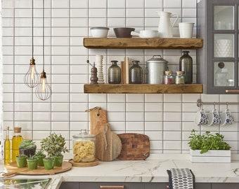 Rustic Floating Shelf 3 inches thick - Easy to install - Open Shelving - Reclaimed Barn Wood Shelves - Barn Beam - Custom Lengths