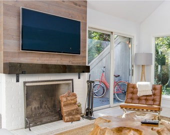 Modern Fireplace Mantel with Metal Brackets. Industrial Farmhouse Mantle with Black Iron Brackets. Contemporary
