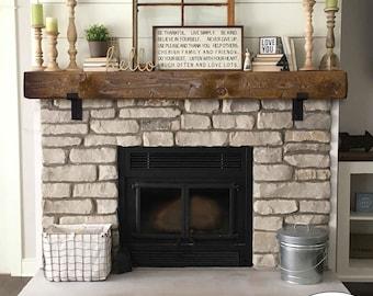 Rustic Fireplace Mantel with Metal Brackets - Mantel 5x6, 6x6, 6x8, or 8x8 - Mantle - Floating - Barn Wood Barn Beam Custom Lengths
