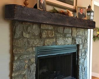 "Rustic Fireplace Mantle 8""H x 8""D - Farmhouse Mantel - Large Mantle - Thick Shelf - Fireplace Surround - Beam Shelf - Cottage Mantel"