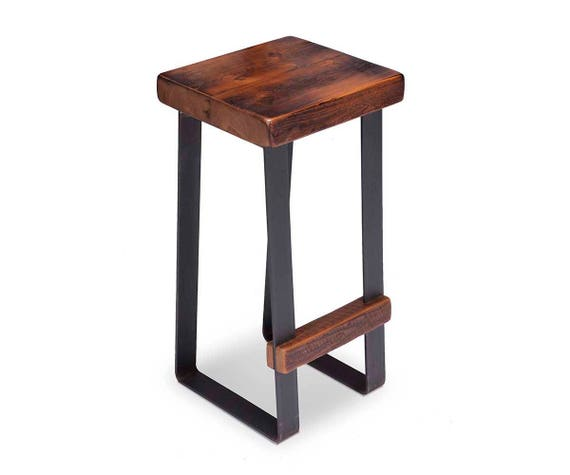 Fabulous Bar Stool With Rustic Wood Seat And Metal Legs Barn Wood Different Sizes Rustic Modern Industrial Decor Heavy Duty Construction Gmtry Best Dining Table And Chair Ideas Images Gmtryco