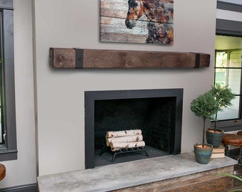 Rustic Mantel with Metal Straps - Fireplace Mantel - Mantle with Iron Rivet Bands - Floating - Barn Wood - Barn Beam - Custom Lengths