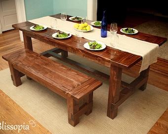 Farmhouse Table, Wood Dining Table, Harvest Dining Table