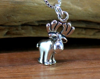 Sterling silver moose necklace, bullwinkle