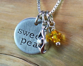 Sweet pea necklace, Sterling silver pea in a pod necklace