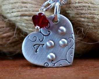 Sterling silver braille initial necklace, Braille heart necklace