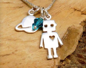 Sterling silver Space robot necklace, outer planet jewelry, Adorkable jewelry